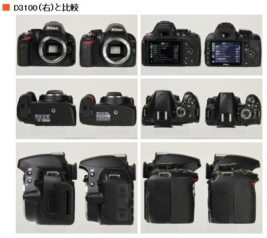 Nikon D5100 D3100ボディ比較